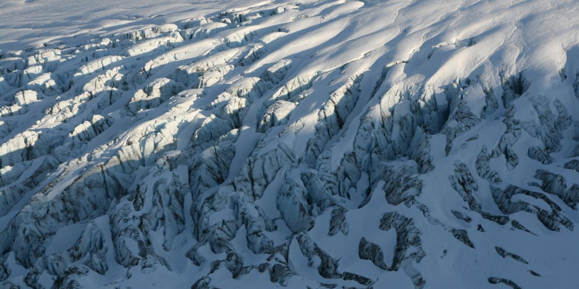 Jagged ice ridges comprise the surface of the Harding Icefield in Kenai Fjords National Park.