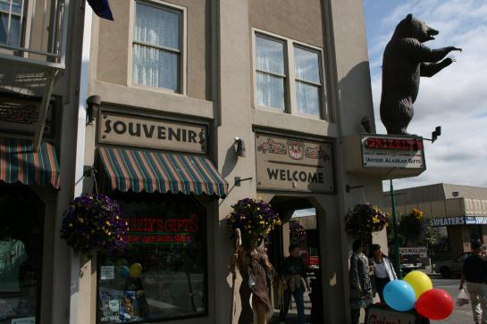 A plastic bear greets customers of Grizzly's Unique Alaskan Gifts in downtown Anchorage, Alaska.