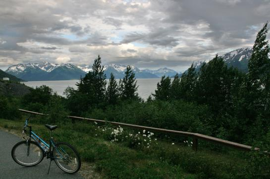 A bicycle sits on the bike path between Indian Creek and Girdwood in Alaska.