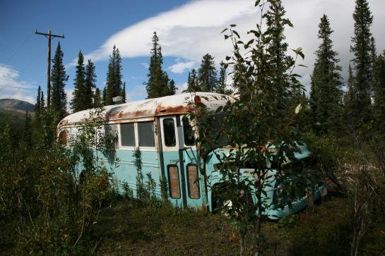 "The prop bus used in lieu of the ""Magic Bus"" in Into the Wild sits near Cantwell, Alaska."