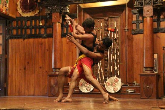 Martial arts experts demonstrate the ancient Keralan art of Kalarippayt in Fort Cochin, India.