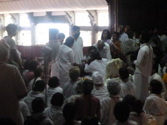 Amma hugs devotees in Amritapuri, India.
