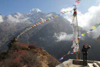 Hank adjusts a ContourHD head-mounted camera above Namche Bazaar, Nepal.