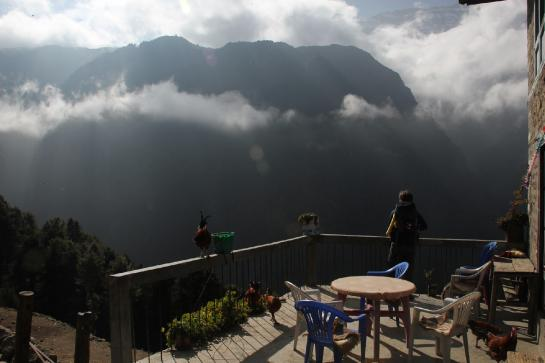Brian looks toward a mountain from a guesthouse patio near Namche Bazaar, Nepal.