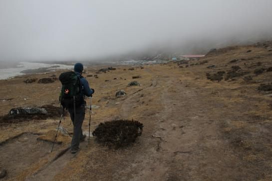 Brian becomes enveloped in fog as he walks toward Pheriche, Nepal.