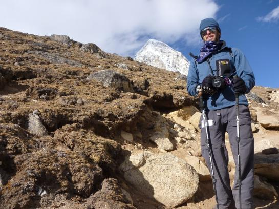 Brian hikes with a Canon SLR and Joby tripod near Everest Base Camp, Nepal.