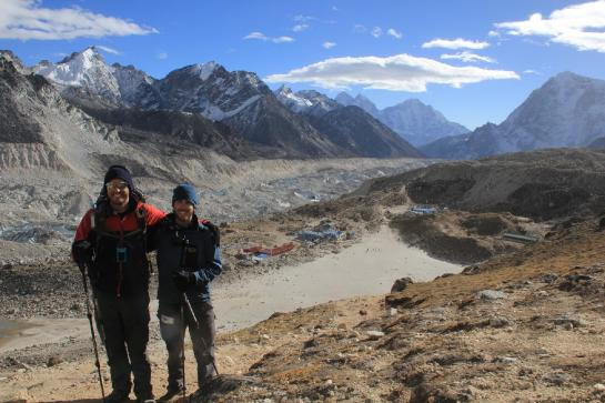 Hank and Brian pause for filming and a photo on the way up Kala Patthar.