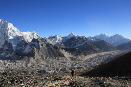 Hank hikes toward the summit of Kala Patthar near Gorak Shep, Nepal.