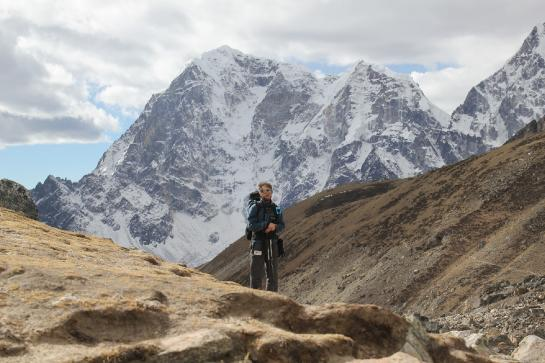 Brian hikes with a Lumix DSC-T2 attached to his chest near Everest Base Camp, Nepal.