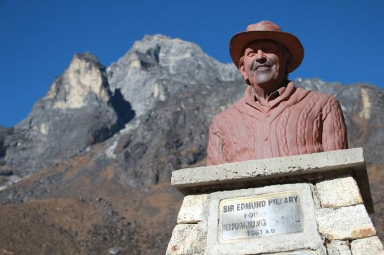 A statue of Sir Edmund Hillary stands in Khumjung, Nepal.