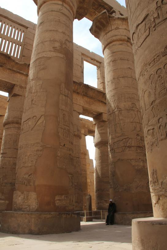 A guard keeps watch in the Temple of Amun's Great Hypostyle Hall in Karnak.
