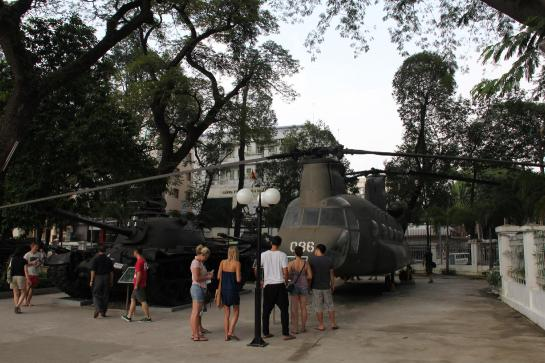 Downed American helicopters are displayed in front of the Ho Chi Minh City War Remnants Museum.