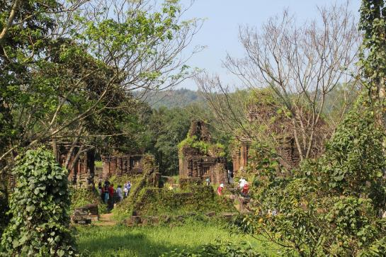 Tourists explore the My Son Temple Complex near Hoi An, Vietnam.