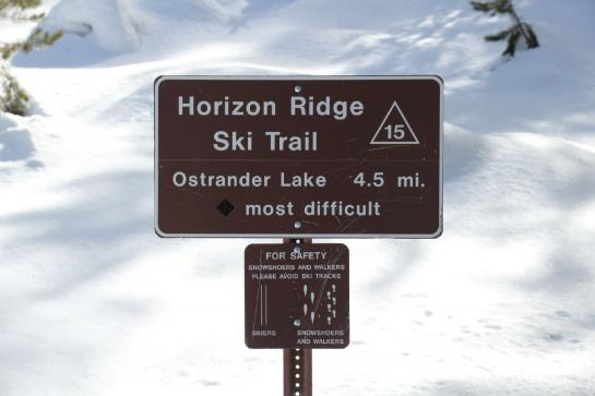 "The Horizon Ridge Ski Trail signs warns that the route is ""most difficult."""