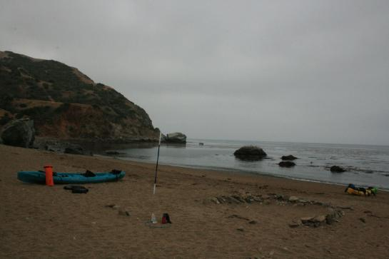 A kayak sits on Catalina Island's Parsons Landing. (photo by Wendy Eckersley)