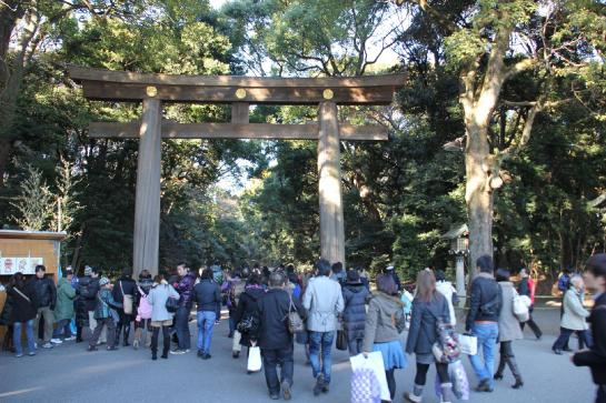 Thousands of Tokyo residents enter Meiji Jingu Shrine during the Japanese New Year.