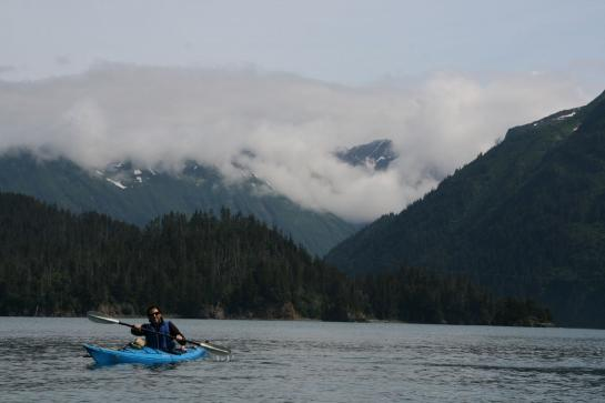 A kayaker paddles in front of Yukon Island in Homer, Alaska.