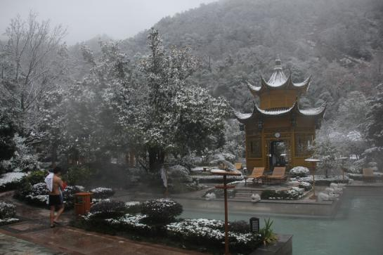 The hot springs resort, covered in snow, near Huangshan.