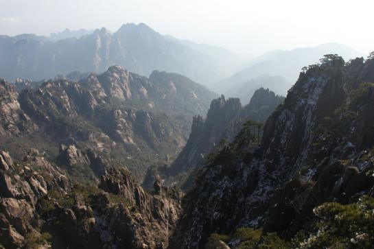 The sun shines on a particularly beautiful day on Huangshan's Bright Summit.