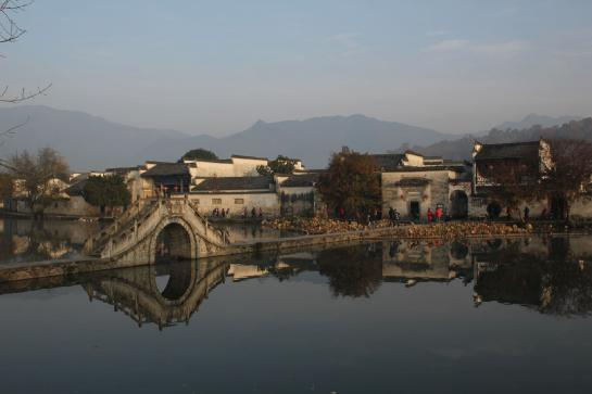 The bridge across Hongcun's South Lake was featured in the opening scene of Crouching Tiger, Hidden Dragon.