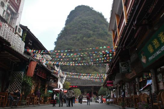Karsts serve as backdrops to the streets of Yángshuò.