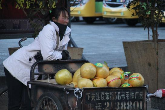 A woman sells fruit in Dàlǐ, China.
