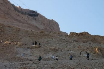 Tourists walk on the Snake Path leading to the top of Masada. (photo by Brian Leukart)