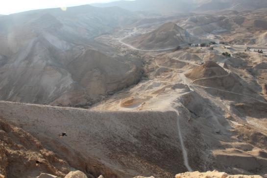 A famous ramp, built by Roman soldiers during a siege, leads to the top of Masada.