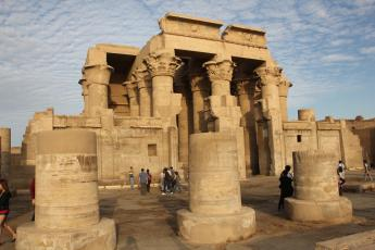 Tourists explore the Temple of Kom Ombo in Kom Ombo, Egypt near Aswan.