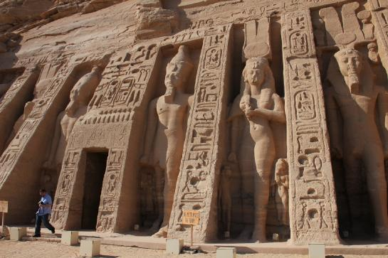 Colossi of Nefertari and Ramesses II flank the entrance to the Small Temple of Hathor and Nefertari at Abu Simbel.