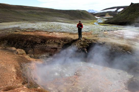 Hank photographs hot fumaroles near Landmannalaugar. (photo by Brian Leukart)