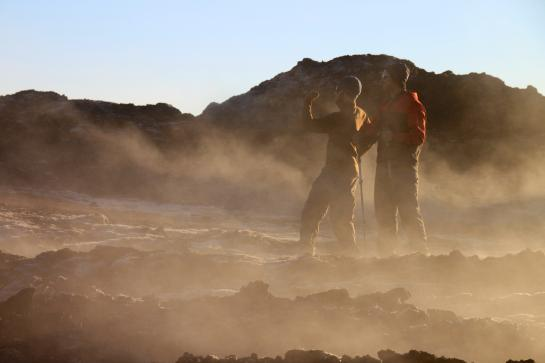 Brian and Hank explore Iceland's Leirhnjúkur lava fields.