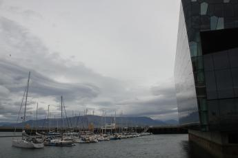 Boats next to Harpa music center