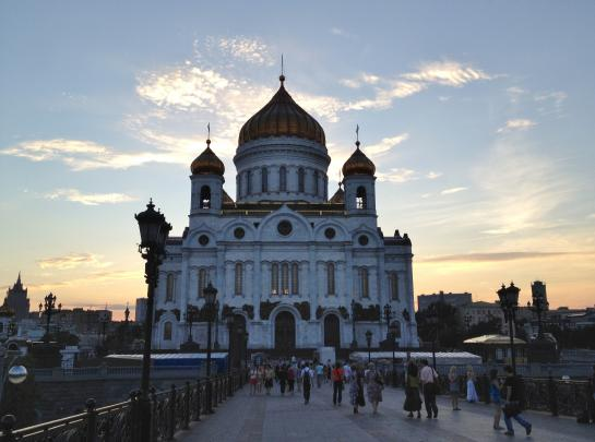 The Cathedral of Christ the Saviour sits near Moscow's trendy nightlife spot, Red October.