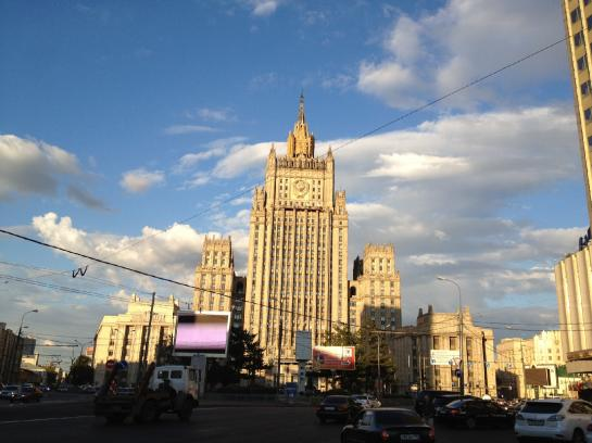 A Stalinist skyscraper sits on a block in Moscow, Russia.