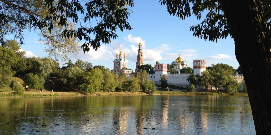 Beautiful Novodevichy Convent sits near a bend in the Moscow River in Russia.