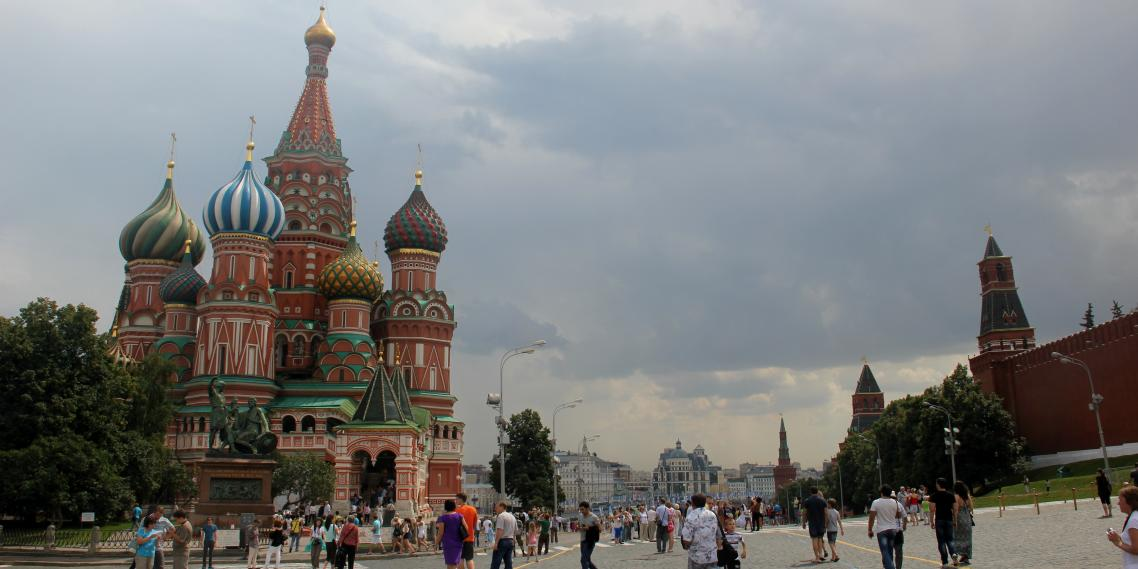 St. Basil's Cathedral, a quintessential Moscow tourist attraction, sits on the western edge of Red Square.