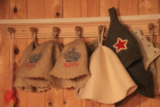 Felt hats in a Russian banya protect bathers heads from the excessive heat.