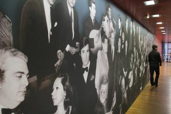 A mural of famous Portuguese Fado singers adorns the Fado Museum in Lisbon's Alfama neighborhood.