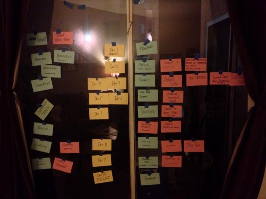 A sliding door covered in trip-planning index cards in Burbank, California