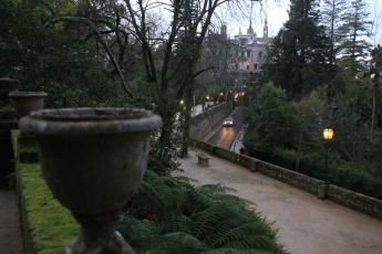 The palace at the Quinta da Regaleira estate looms over its surrounding, lavish gardens in Sintra, Portugal.