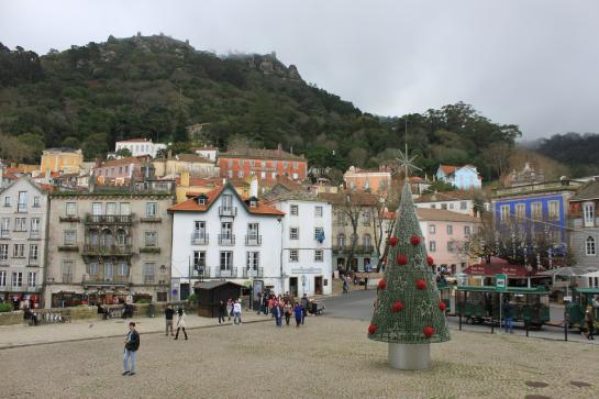 The Pena National Palace sits on a hill above the Sintra town square, featuring a steel, abstract Christmas tree. (photo by Brian Leukart)