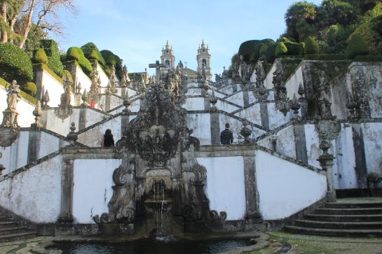 A beautiful, Baroque staircase can be climbed by visitors to the Bom Jesus do Monte church in Braga, Portugal.
