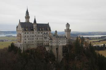 Neuschwanstein Castle can be seen from nearby Marienbrucke Bridge in Bavaria, Germany.