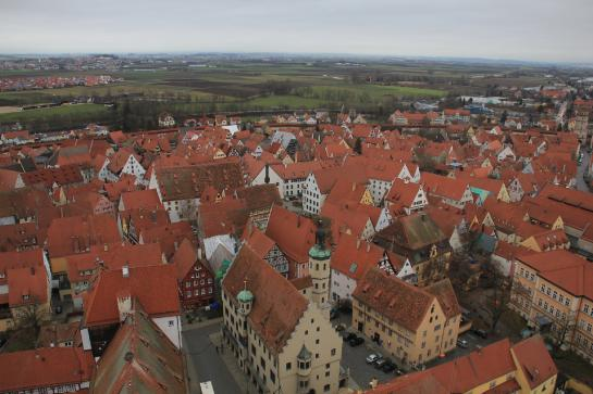 The view from the belltower of Saint George's Church in Nördlingen, Germany is the same one seen at the end of the 1971 movie musical, Willy Wonka and the Chocolate Factory.