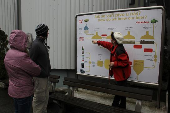 A tour guide explains the beer brewing process to tourists at Budweiser Budvar Brewery in České Budějovice, Czech Republic.