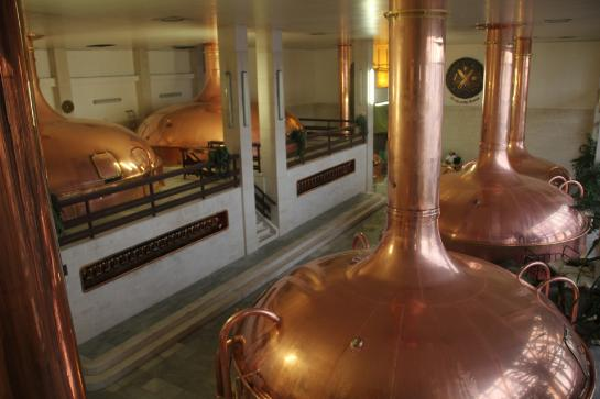 Copper brew kettles sit in the Budweiser Budvar Brewery in České Budějovice, Czech Republic.