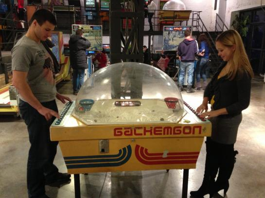 A basketball game at the Museum of Soviet Arcade Games in Moscow, Russia