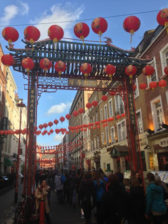 Chinese lanterns hang over Gerrard Street in London.