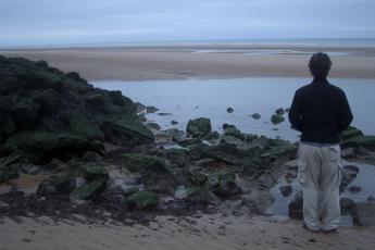 Omaha Beach, one of the main landing points of the Allied invasion of German-occupied France during World War II.